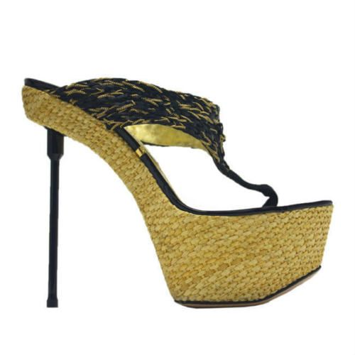 NEW-1495-GIANMARCO-LORENZI-BLACK-PATENT-LEATHER-BLACK-GOLD-RAFFIA-THONG-SANDAL