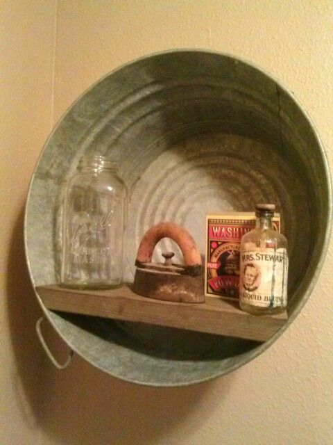 Old Wash Tub Reclaimed Bathroom Shelf I Would Love To Do This In My Laundry