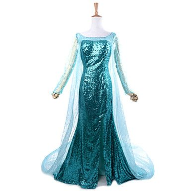 Movie Frozen Sparkle Princess Elsa Deluxe Blue Sequin Women's Carnival Party Cosplay Costume - USD $ 103.99