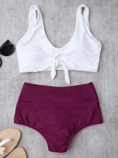 SHARE & Get it FREE | Knotted High Waisted Ruched Bikini Set - Purplish Red MFor Fashion Lovers only:80,000+ Items • New Arrivals Daily Join Zaful: Get YOUR $50 NOW!