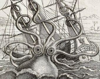 Aangepaste afgedrukt Wallpaper van tekening van Giant Octopus - afgedrukt op uw muur