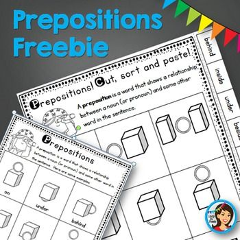 Prepositions mini anchor chart and cut, sort and paste worksheet freebie.