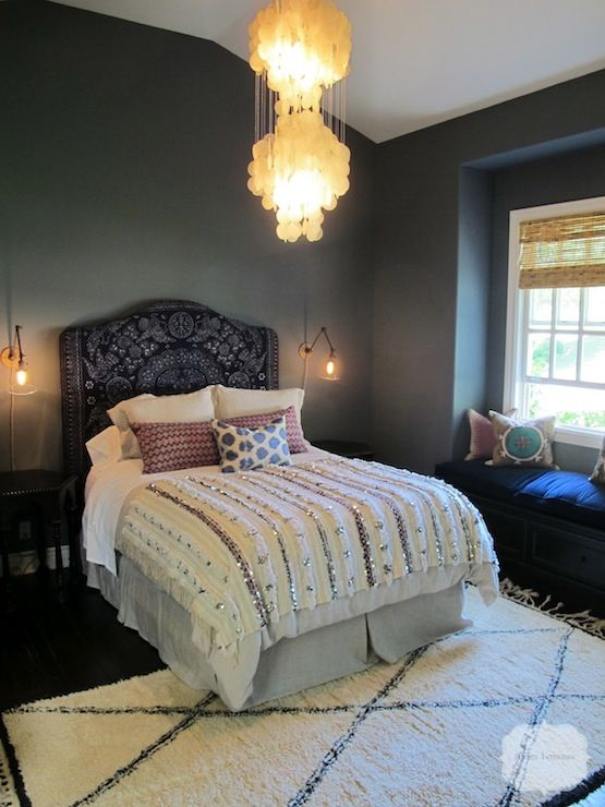 Suzie: Amber Interiors - Glamorous Moroccan bedroom with plum Moroccan headboard, Moroccan ...