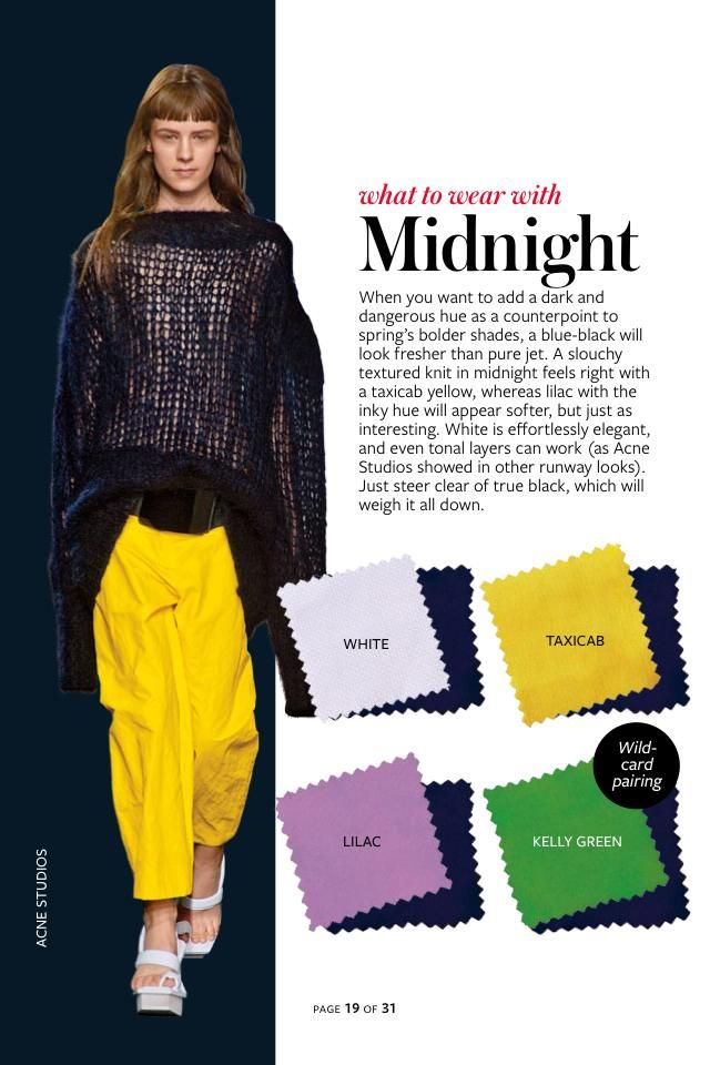 2014: Spring/Summer: Color Charts from InStyle Magazine #whattowearwith Midnight