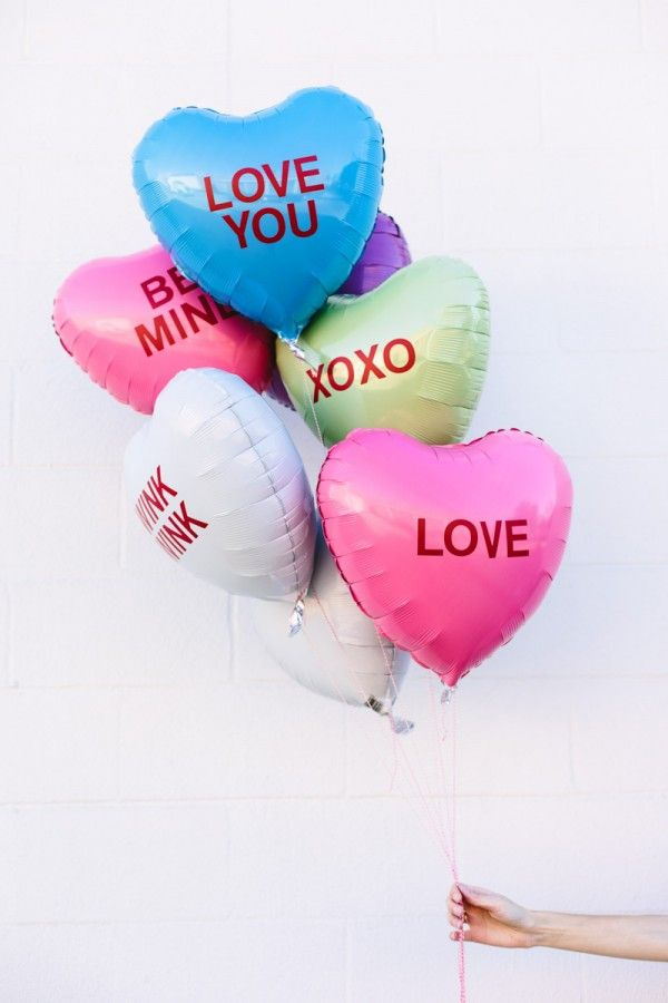DIY conversation heart balloons!