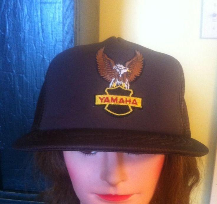 Vintage Yamaha with Eagle Snapback Trucker Style Hat Adjustable Brown