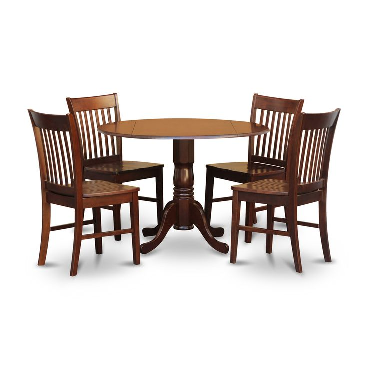 East West Furniture Dublin 5 Piece Drop Leaf Dining Table Set With Norfolk Wooden Seat Chairs
