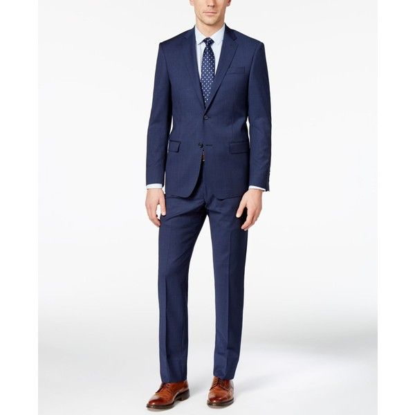 Dkny Men's Slim-Fit Navy Tonal Striped Suit ($260) ❤ liked on Polyvore featuring men's fashion, men's clothing, men's suits, navy, slim fit mens clothing, mens navy suit, men's apparel, mens slim fit suits and dkny mens suits