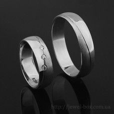 Обручальные кольца из белого матового и глянцевого золота