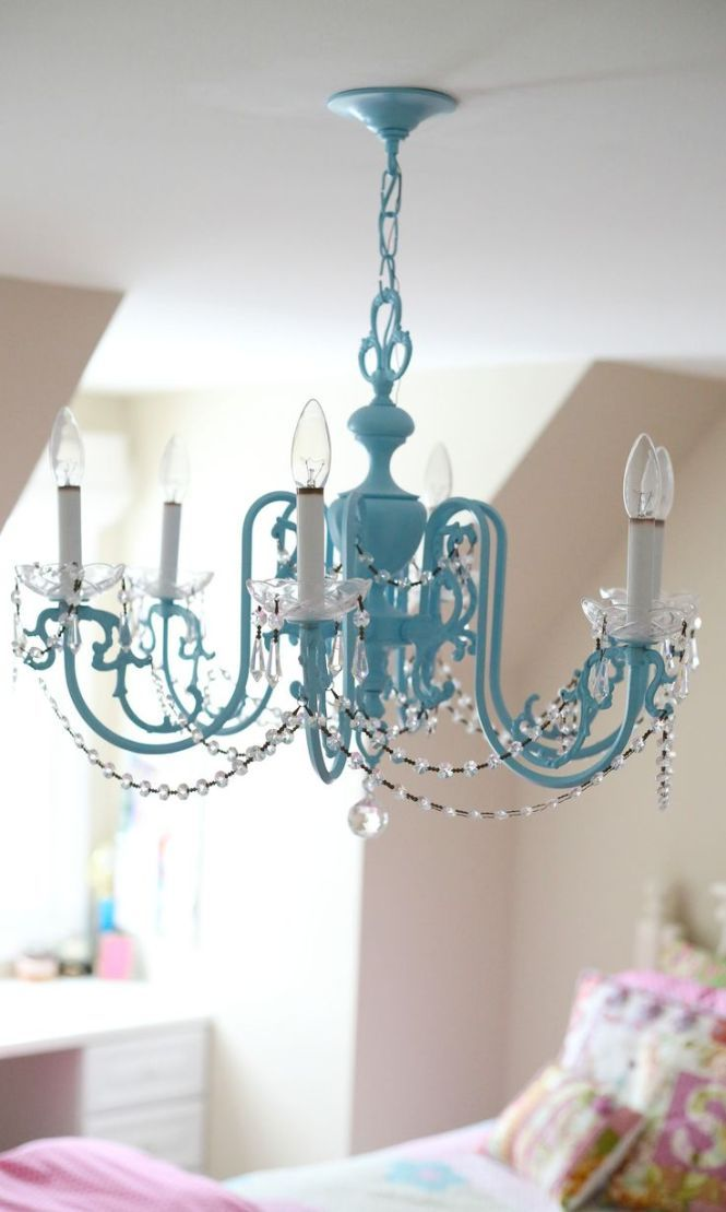 Check out this Girls Chandelier Makeover from