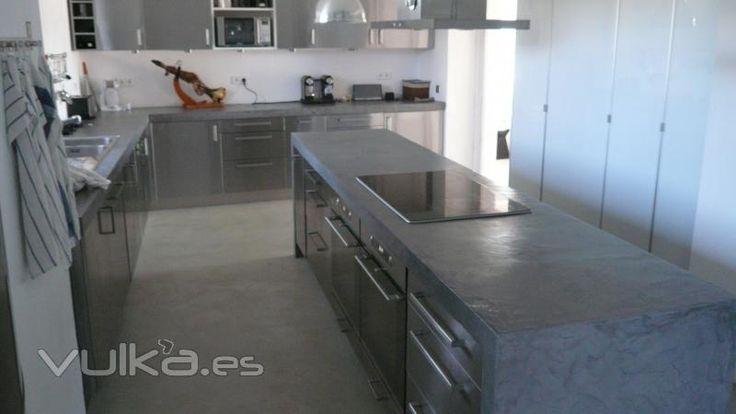 cosina de congreto | ... : Cemento pulido Mineral Deco en suelo, encimera, isla de una cocina