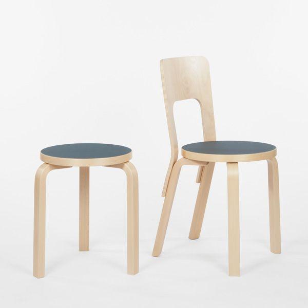 Aalto stool 60, blue linoleum, by Artek.