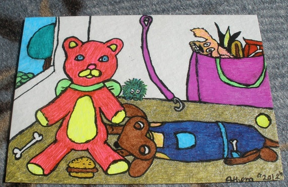 Toys For Pups Art ACEO Dachshund Drawing Doxie by SassySashadoxie, $5.00