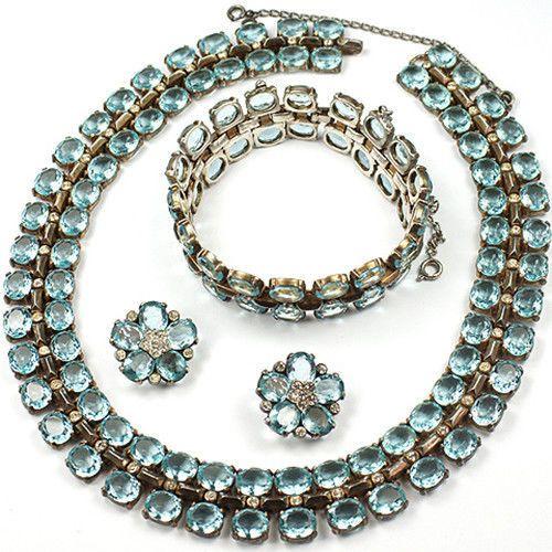 Trifari Sterling Philippe Aquamarine Necklace, Bracelet & Clip Earrings Set $1,575
