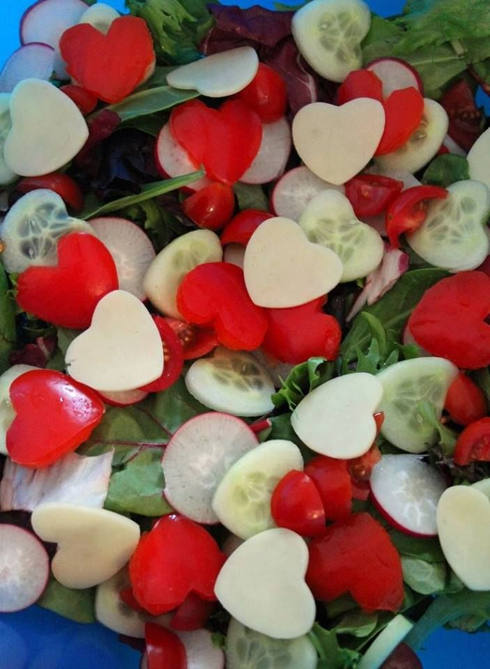 valentines day salad, healthy valentine treat, cucumber red pepper cheese hearts…