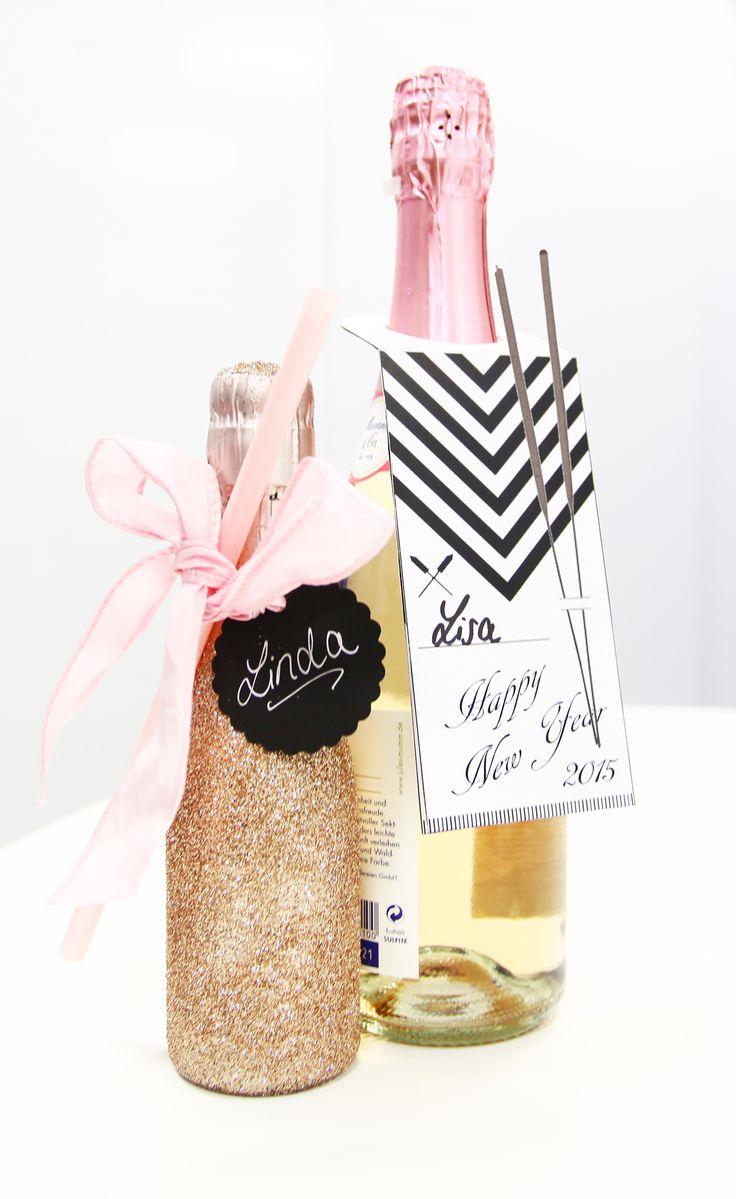 Sektflasche DIY Party-Geschenk | Silvester