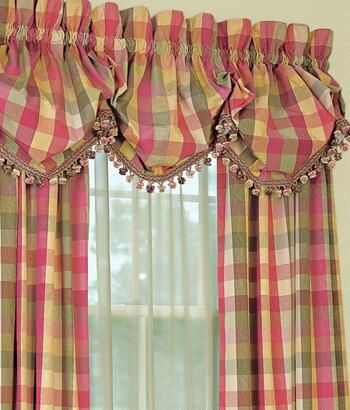 Finestra Toppers Moire Plaid foderato palloncino Valance con frange Trim - Paese Curtains®
