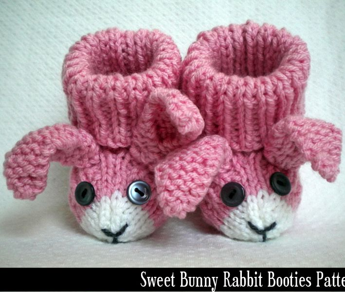 Bunny rabbit baby booties knitting pattern creare Pinterest Baby Bootie...