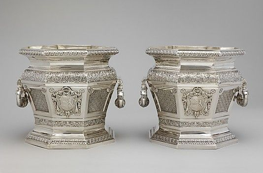 """1716-1717 British Wine coolers at the Metropolitan Museum of Art, New York - From the curators' comments: """"These wine coolers in the French style were made for Sir Robert Walpole, Britain's first prime minister....Coolers for individual bottles of wine were a novelty in England, and these reflected the fashionable taste and deep pockets of one of the most powerful men in the country."""""""
