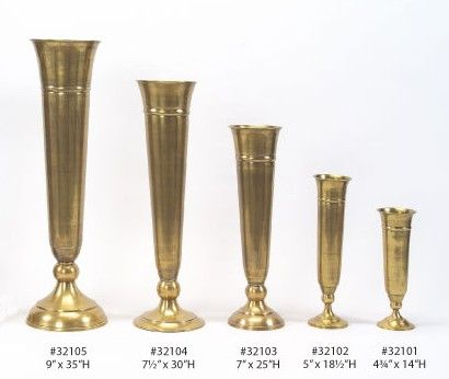Wholesale Gold Trumpet Vases, Silver Candelabras, Brass Candelabra, Pedestals and Flower Towers.