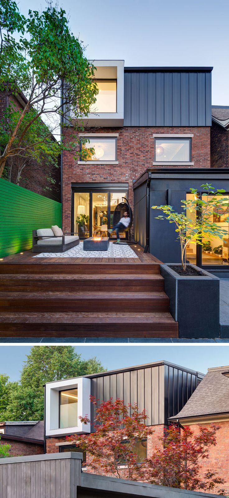 At the rear of this renovated Canadian home, there's a deck with an outdoor fireplace that overlooks the rest of the backyard. There's also a new dormer that was added to the back wall of the home to provide privacy.