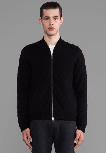 Closed Quilted Bomber in Black