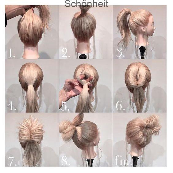 So stylen Sie Ihr blondes Haar in ein hohes Brötchen | Makeup Mania ,  #blondes #brotchen #hohes #makeup #mania #stylen
