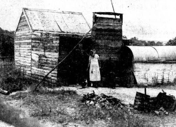 HUMBLE: Two pensioners in indifferent health occupied this hut in 1941.