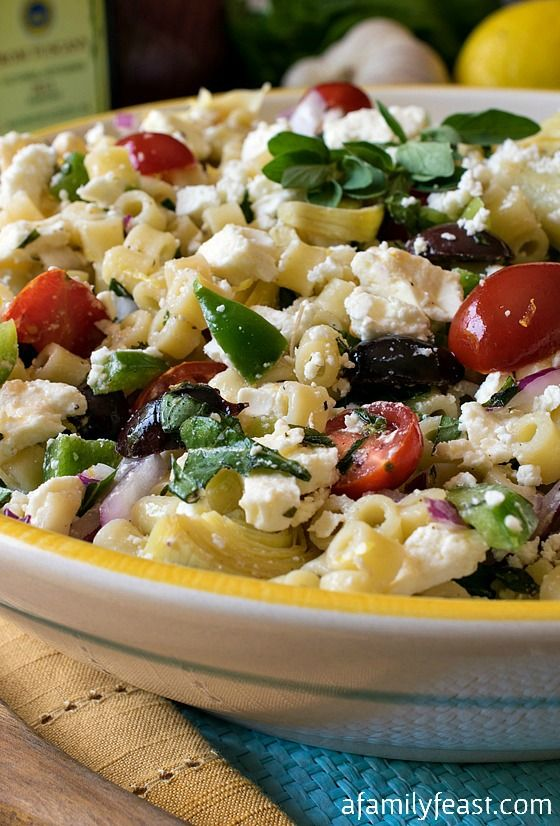 Mediterranean Pasta Salad - A delicious Greek-inspired salad. (The dressing on this salad is fantastic!)