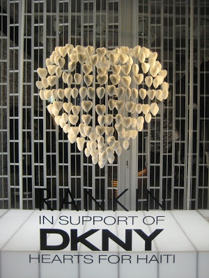 DKNY - Support Campaign for Haiti window display. #hearts #retail #merchandising #window_display