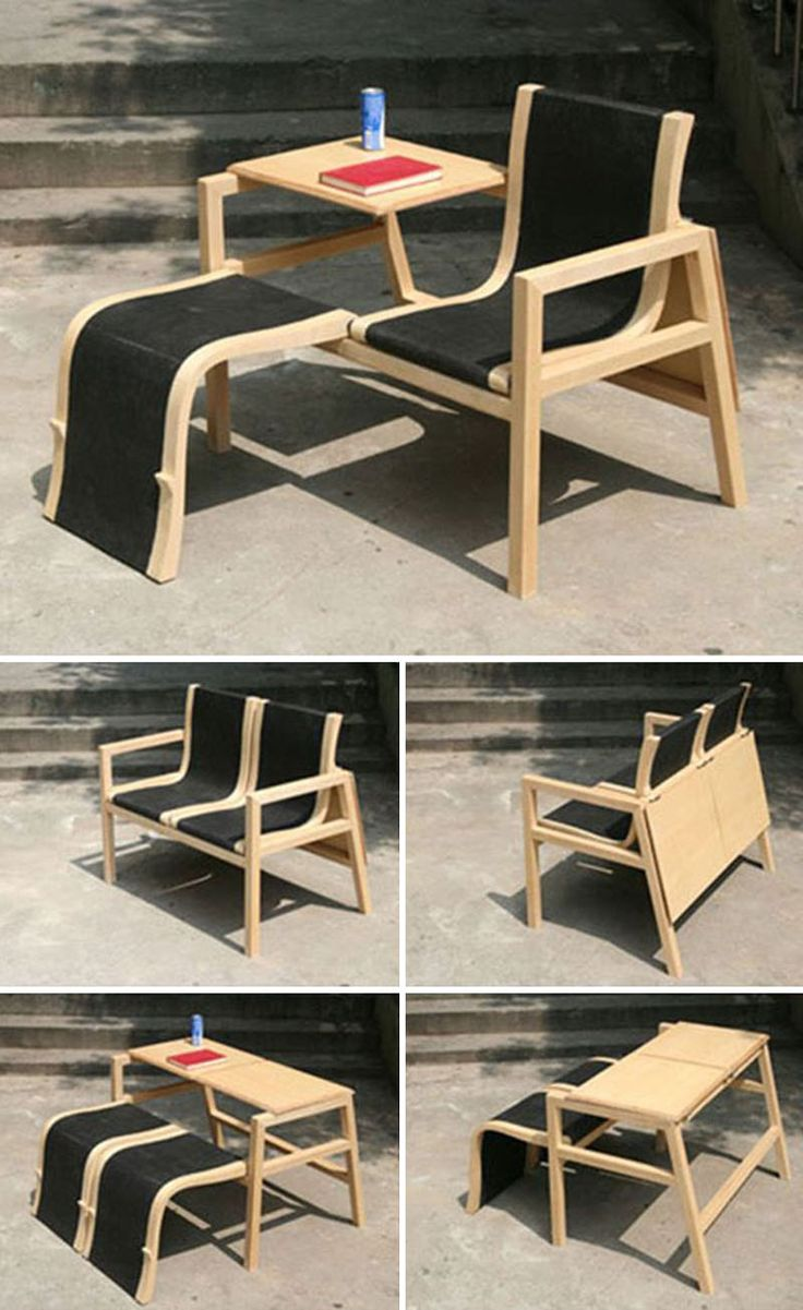 8 Surprising Pieces Of Furniture That Transform Into Something Else // This chair and side table, transforms into a loveseat, or a bench with table.