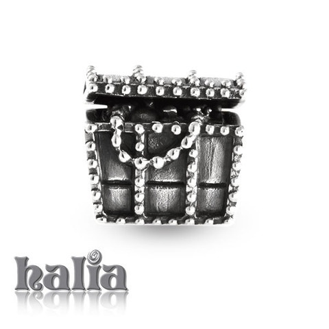 Treasure Chest: Treasure chest bead: designed exclusively by Halia, this bead fits other popular bead-style charm bracelets as well. Sterling silver, hypo-allergenic and nickel free.     $35.00