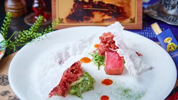 Салат из маринованного тунца с морскими водорослями и соусом гамодари, пошаговый рецепт с фото