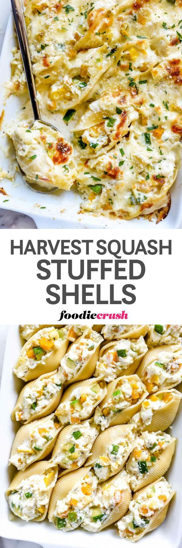 These stuffed shells with zucchini, butternut, and yellow squash baked in a creamy white alfredo sauce couldn't be easier to prep and are even easier to crave | foodiecrush.com #pasta #recipes #baked #dinnertime