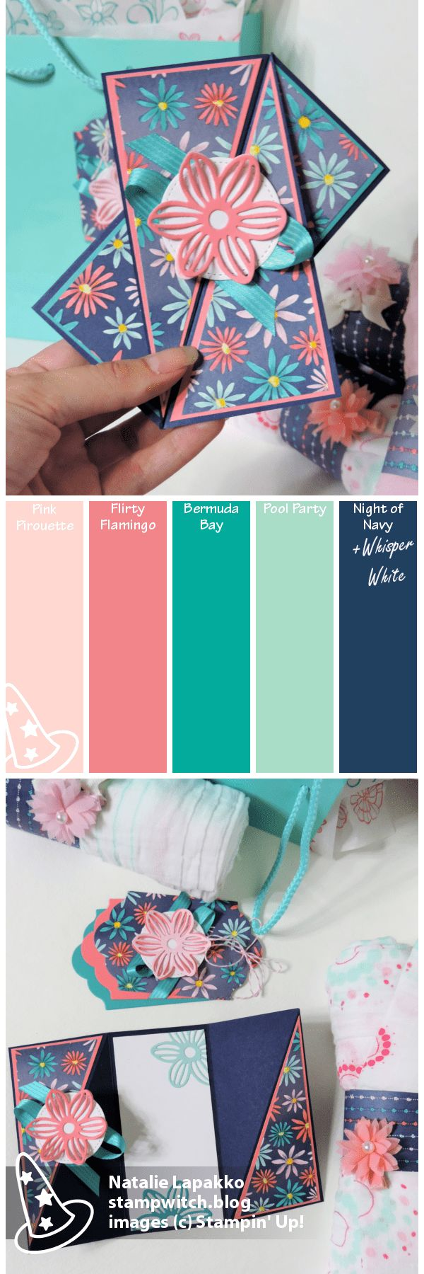 Homemade card and baby gift by Natalie Lapakko featuring Delightful Daisy DSP and May Flowers Framelits from Stampin' Up! Color inspiration: Pink Pirouette, Flirty Flamingo, Bermuda Bay, Pool Party, Night of Navy
