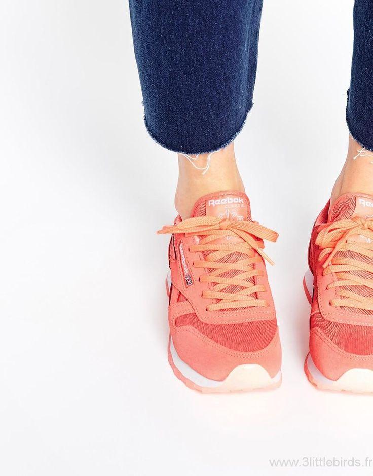 Femme Reebok - CL Ice - Baskets en cuir - Corail NS0053