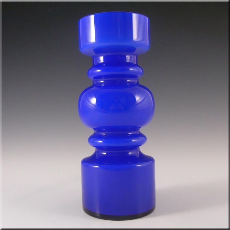 Lindshammar 1970's Swedish Blue Hooped Glass Vase - £70.00