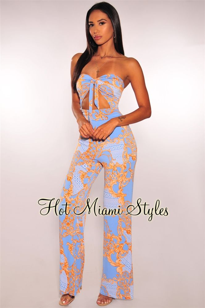 6d84767286ef Sky Blue Amber Victorian Strapless Tie Up Padded Jumpsuit