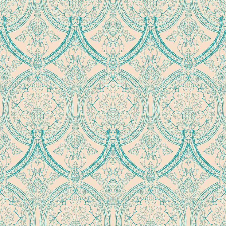 Papel mural diseño clásico color calipso y fondo claro