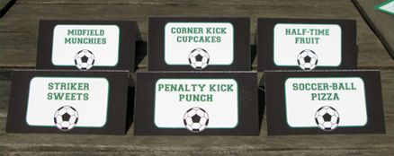 Soccer Party Folding Food Labels