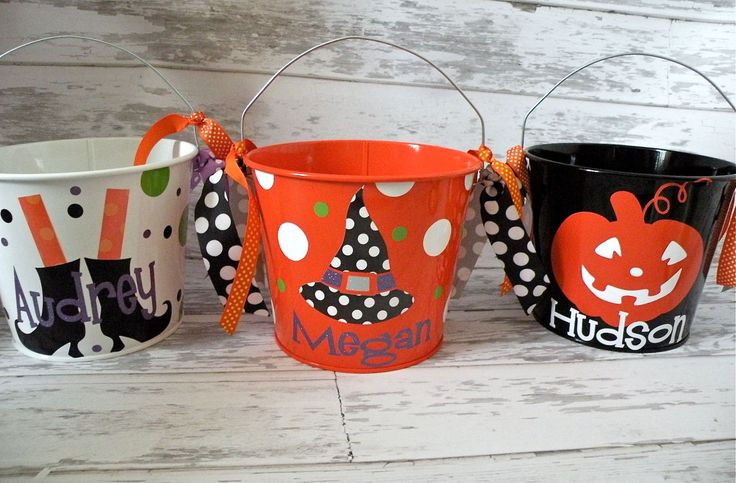 Set of 4 Halloween buckets. $88.00, via Etsy.
