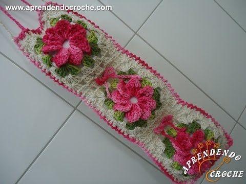 Jogo Banheiro Crochê Floral-Porta Papel Higiênico - Jogos Banheiro Crochê - Aprendendo Croche