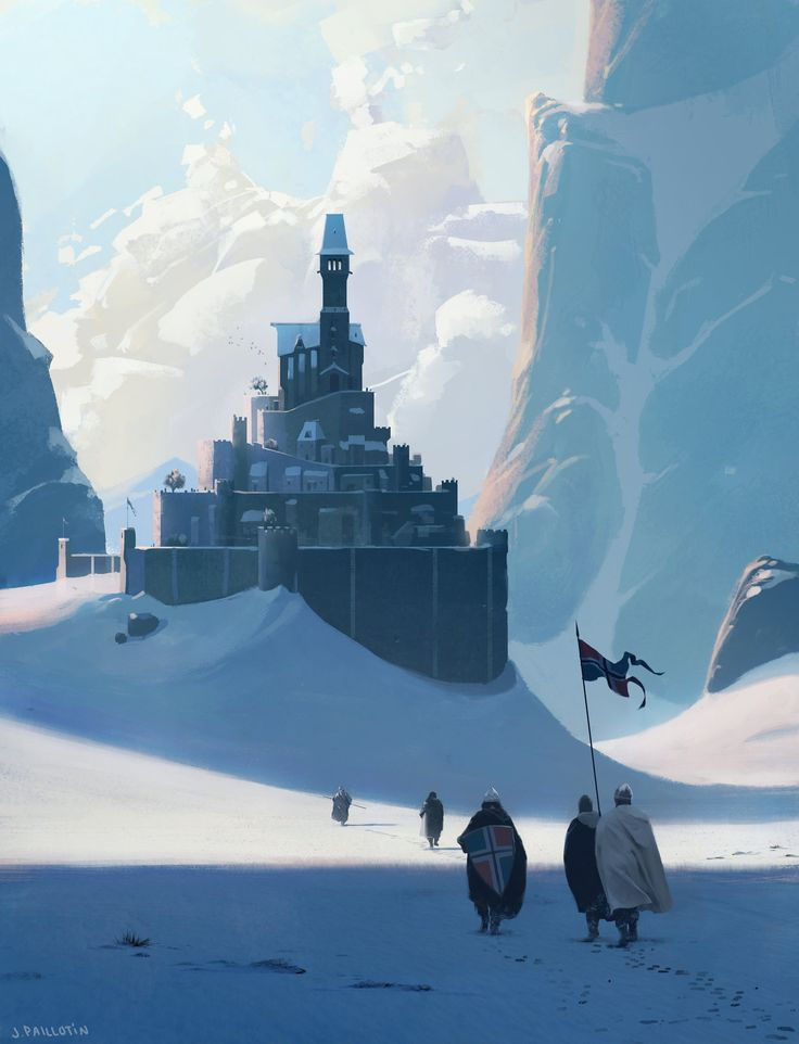 A bunch of dudes walking up to a castle, Jeremy Paillotin on ArtStation at http://www.artstation.com/artwork/a-bunch-of-dudes-walking-up-to-a-castle