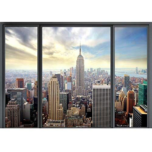 VLIES FOTOTAPETE New York Panoram Fenster Stadt TAPETE WANDBILDER XXL Wohnzimmer