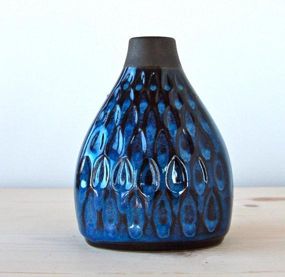 Vintage 1960s Soholm Danish Blue Series Vase by SPOTTEDSWALLOW, $45.00
