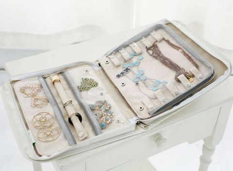 What makes me smile more than getting to a long-distance destination and finding--aha!--that my jewelry is STILL organized!  This clos-ette organizer is a big 'want' at this point (I don't go places often enough to justify the $50.00 price tag)