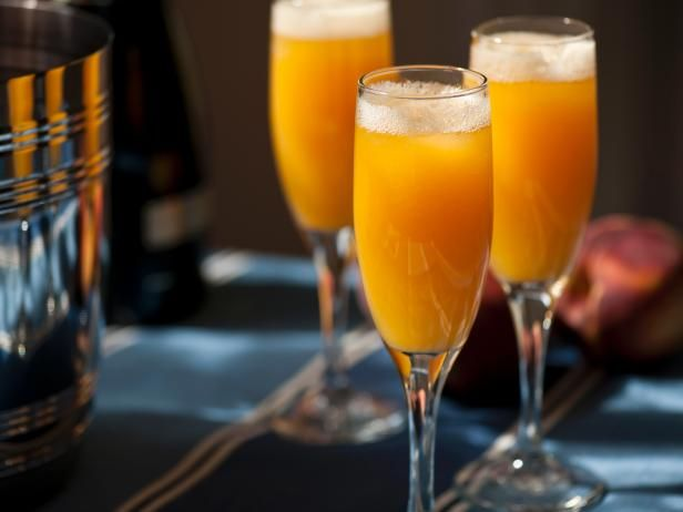 Peach Ginger Bellini - The perfect sip for Mother's Day!: Food Network, Peaches Gingers, Gingers Bellinis, Tyler Florence, Peaches Bellinis, Cocktails, Drinks, Bellinis Recipe, Cooking Channel
