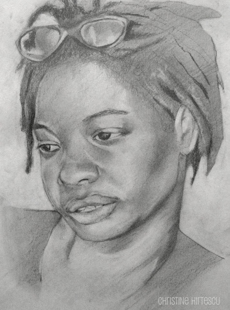 """Lyrea (head study)"" Graphic pencil on paper.  Christine Hirtescu. c.2012 www.chirtescu.com"