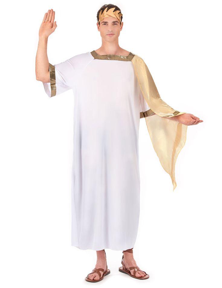Déguisement empereur romain homme : Ce déguisement d'empereur romain pour homme se compose d'une longue toge blanche avec une demie cape doréeet d'une coiffe imitation feuilles de laurier dorées...