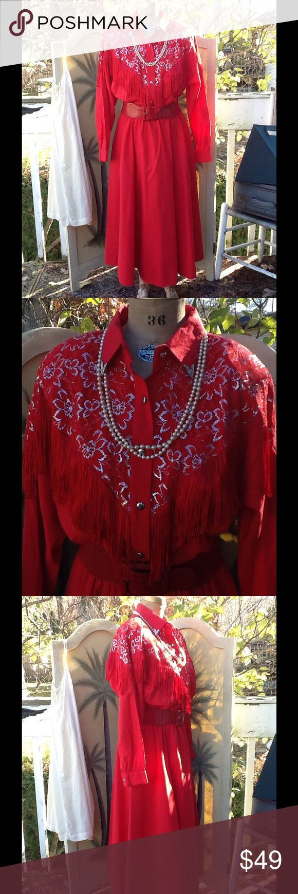 VTG LILIA SMITH EXCLUSIVE WESTERN FRINGE DRESS This is beautiful,it's in a gorgeous lipstick red 100% cotton,the bodice portion has a lace flower portion with gold metallic thread red silky fringe on front and back metal collar tips 5 button front long button cuffed sleeves,elastic waist and full skirt portion...perfect dress for square dancing just throw on a pair of cowboy boots and hat and your ready!!! It's by Lilia Smith exclusive!!! It's in EUC! Few small spots sz 20 made in USA…